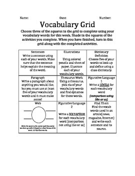 Vocabulary Grid Menu Printable!