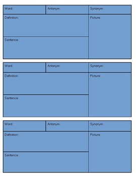 Vocabulary Graphic Organizer Booklet or Worksheets for stations