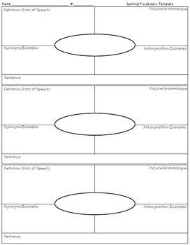 Vocabulary Graphic Organizer SIMPLE Version 2
