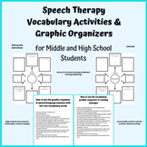 Middle & High School Speech Therapy Vocabulary Activities & Graphic Organizer