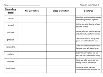 Vocabulary Graphic Organizer- Unit 5 Week 5