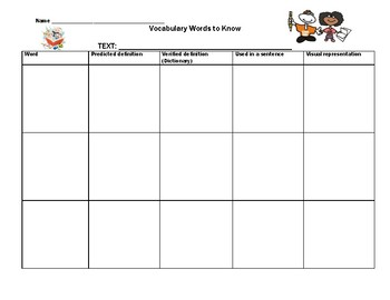 Vocabulary Graphic Organizer (all texts)
