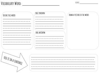 Vocabulary Graphic Organizer (differentiated)