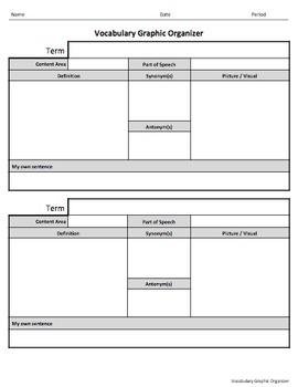 Vocabulary Graphic Organizer for Google Classroom