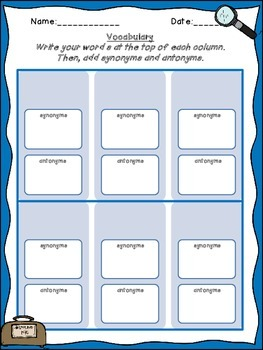 Vocabulary Graphic Organizer for Word Introduction