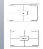 Vocabulary Graphic Organizer or Map