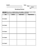 Vocabulary Graphic Organizer with Boxes