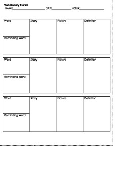 Vocabulary Graphic Organizers- Formatted to fit Interactive Notebooks