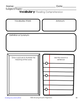 Vocabulary Graphic Organizers for Guided Reading