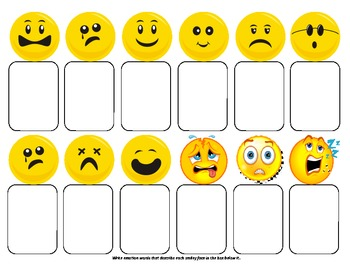 Vocabulary Graphic Organizers - for emotion and feeling words