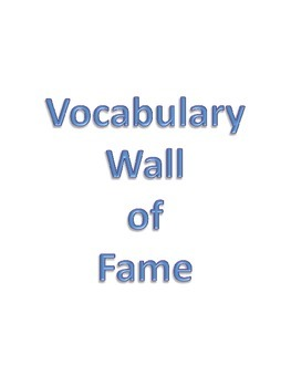 Vocabulary Hall of Fame