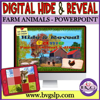Vocabulary Farm Animals Hide and Reveal Digital Interactive PowerPoint Game