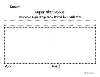 Vocabulary/High Frequency Words Illustration Templates