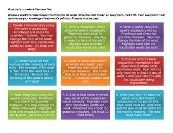 Vocabulary Homework Choice Board 2