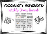 Vocabulary Homework - Week Choice Board