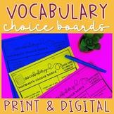 Vocabulary Homework Choice Boards Digital and Printable  