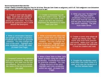 Vocabulary Homework Choice Boards Bundle