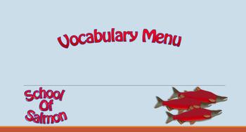 Vocabulary Homework Menu