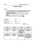 Vocabulary Homework Students' Choice -  Editable