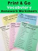 Vocabulary Homework Worksheets - Print & Go Scavenger Hunt - FREEBIE!!