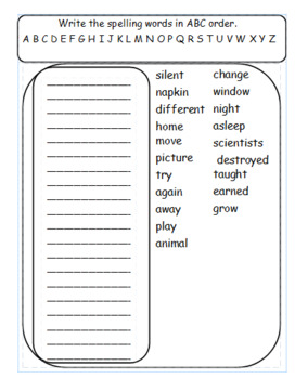 Vocabulary Homework or Morning Work