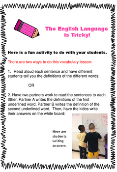 Vocabulary - Homograph Practice Page