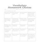 Vocabulary Homework Choice Board
