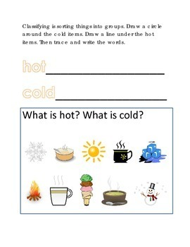 Vocabulary Hot Cold Classifying Sorting #8 Following Directions Emergent Reader