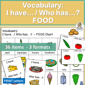 Vocabulary: I have… /Who has…?  FOOD Game for Primary  Children