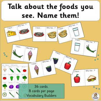 Vocabulary: I have… /Who has…?  FOOD Game for Primary Children (SASSOON)