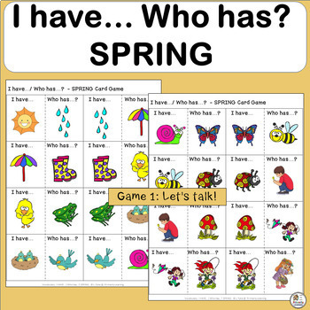 Vocabulary: I have… /Who has…?  SPRING Game for Primary Children