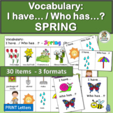 Vocabulary Activities: I have… /Who has…? SPRING