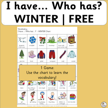 Free! Vocabulary: I have… /Who has…?  WINTER Sampler Game for Primary (SASSOON)