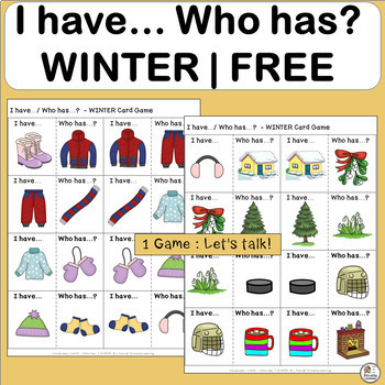 FREE! Vocabulary: I have… /Who has…?  WINTER Sampler Game for Primary Students