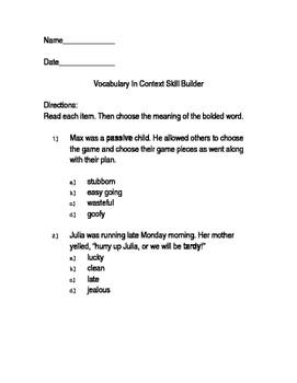 Vocabulary In Context Skill Builder