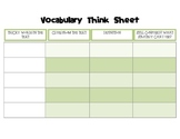 Vocabulary In Context Think Sheet