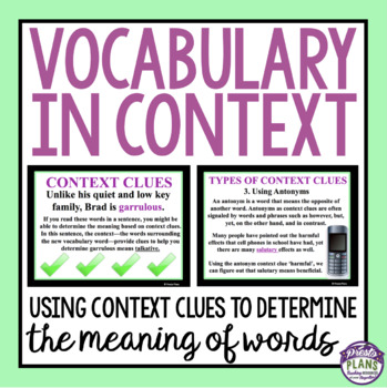 VOCABULARY IN CONTEXT PRESENTATION & ASSIGNMENT