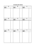 Vocabulary Index for Students Binders