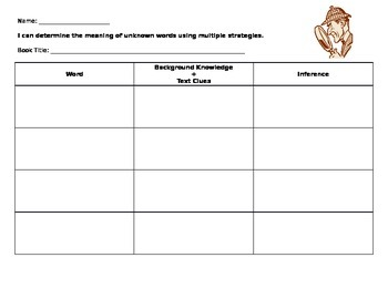 Vocabulary Inference Record Sheet L.4