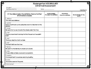 Vocabulary Informal Assessment Data Collection {Progress Monitoring}