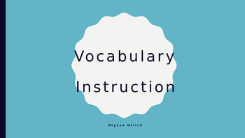Vocabulary Instruction
