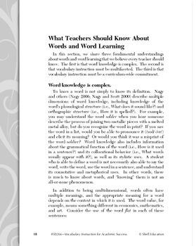 Vocabulary Instruction for Academic Success (eBook)