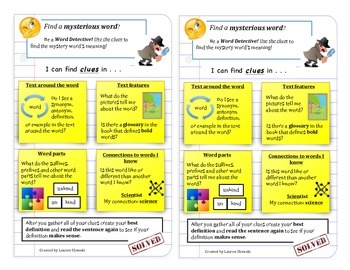 Vocabulary Word Detective Instructional Book Mark Multiple Formats