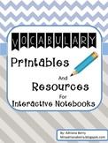 Vocabulary Interactive Notebook & No Prep Printables