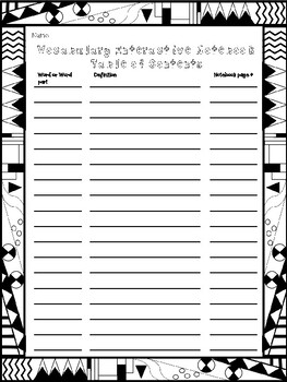 Vocabulary Interactive Notebook Table of Contents with Doodle Border