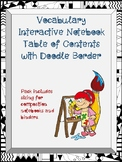 Vocabulary Interactive Notebook Table of Contents with Doo