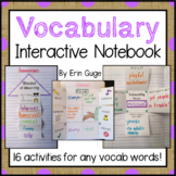 Vocabulary Interactive Notebook for Any Words: 16 Activiti