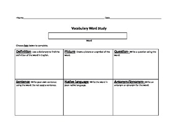 Vocabulary Intermediate Advanced ELL ESL Word Study