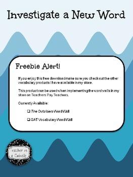 Vocabulary: Investigate a New Word - Freebie
