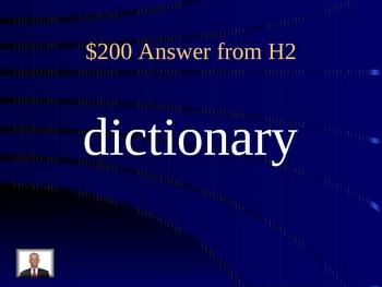 Vocabulary Jeopardy Game PowerPoint